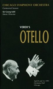Cover of the program book for the April 8 and 12, 1991, performances of Verdi's Otello at Orchestra Hall