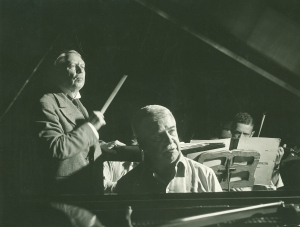 Frederick Stock and Artur Schnabel onstage at Orchestra Hall in July 1942 (Chicago Sun-Times photo)