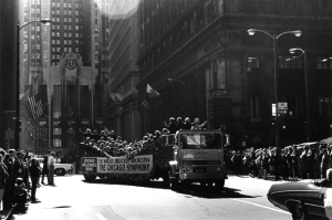 Tickertape parade down State and LaSalle streets on October 14, 1971