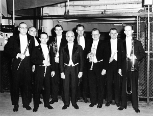 Left to right: Clark Brody, Willard Elliot, Donald Peck, Dale Clevenger, Jean Martinon, Ray Still, Adolph Herseth, Donald Koss, and Jay Friedman