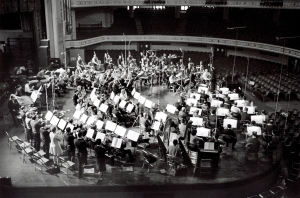 Leopold Stokowski and the Chicago Symphony Orchestra recording Khachaturian's Symphony no. 3 at Medinah Temple in February 1968
