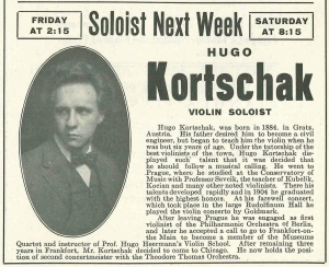 Kortschak's advance program biography for his March 1912 performances