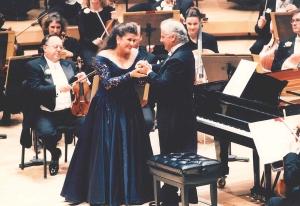 Cecilia Bartoli and Daniel Barenboim on Opening Night, September 25, 1998 (Dan Rest photo)