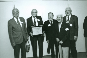 Retired violists gather at the October 19, 1996, CSO Alumni Association reunion: William Schoen (1964–1996), Milton Preves (1934–1939, principal 1939–1986), Phillip Kauffman, Isadore Zverow, and Donald Evans (1948–1988)