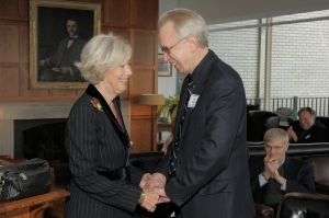 Lady Valerie Solti is greeted by CSOAA president Tom Hall at the Cliff Dwellers on October 16, 2009