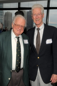Adolph Herseth (principal trumpet 1948–2001, principal trumpet emeritus 2001–2004) and Norman Schweikert (horn 1971–1997) on April 11, 2008, at the Cliff Dwellers