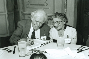 Arnold (principal tuba 1944–1988) and Gizella Jacobs in Orchestra Hall's Grainger Ballroom on October 19, 1996