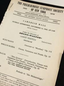 New York Philharmonic program for Leonard Bernstein's debut (replacing Bruno Walter) on November 14, 1943