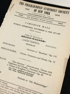 New York Philharmonic program for Leonard Bernstein's debut (replacing Bruno Walter) on November 14, 1943