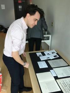New York Philharmonic assistant archivist Gabryel Smith setting up the exhibit