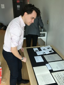 New York Philharmonic assistant archivist Gabryel Smith setting up the exhibit