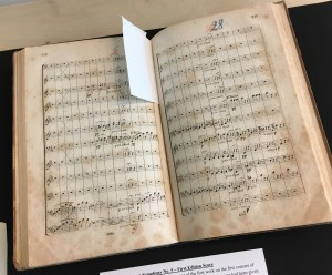 A first edition of Beethoven's Fifth Symphony, used for the New York Philharmonic's first concert