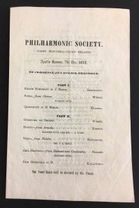 Program for the New York Philharmonic's first concert, given on December 7, 1842