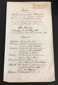 Program for the Vienna Philharmonic Orchestra's first concert, given on March 28, 1842